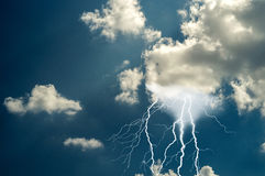 Lightnings and thunder bold strike Royalty Free Stock Photography