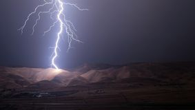 lightnings and thunder bold strike at summer storm. Royalty Free Stock Images