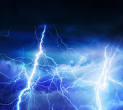 Lightnings, thunder and rain during summer storm.  Royalty Free Stock Photo