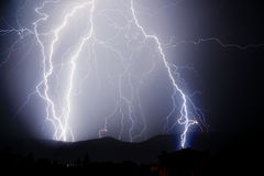 Lightnings. Thunderstorm with lightnings in a dark thunderous night Stock Photo