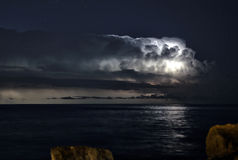 Lightnings 033. Thunderstorm over Palma de majorca´s bay Royalty Free Stock Photography