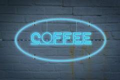 Lighton de neón la pared con la palabra CAFÉ imagen de archivo libre de regalías