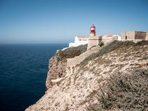 Lightouse Cape Saint Vincent is a beautiful landmark in Portugal south west of Europe. stock photo