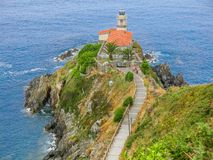 Lightouse in Cudillero, little coastal village in Asturias, northern Spain,. royalty free stock photo