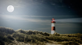 Lightouse on dune on evening. Lightouse on dune - changed color for vintage effect Stock Image