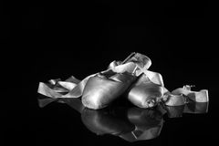 Lightpainted Pair of Ballet Pointe Shoes Stock Images