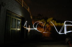 Lightpainting das Wort: Liebe Stockfotos