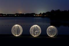 Lightpainting med orbs Royaltyfri Fotografi