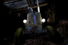 Lightpainting old tractor wreck Stock Images