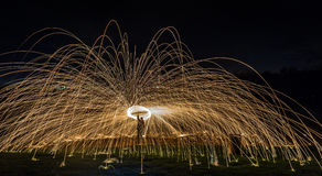 Lightpainting with steel wool Royalty Free Stock Photo