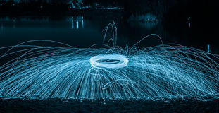 Lightpainting with steel wool Royalty Free Stock Photos