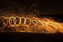 Lightpainting with steel wool. Steel wool in a wisk, start swinging Royalty Free Stock Photos