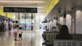 Lightrail station. Denver, Colorado, USA-August 31, 2014. Underground interior of Union Station transportation hub in downtown Denver, Colorado stock video footage
