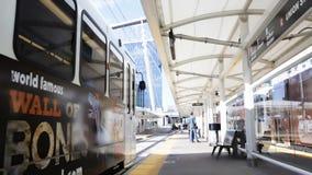 Lightrail station. Denver, Colorado, USA-August 31, 2014. Union Station lightrail stop in downtown Denver, Colorado stock video