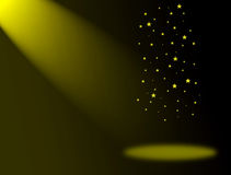 Lights. Yellow effect lights on stage with stars to insert your design or product Royalty Free Stock Photos