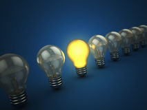 Lights. 3d illustration of light bulbs with one shining Royalty Free Stock Photo