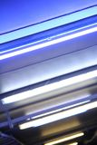 Lights. Colorful neon lights on the ceiling of a parking slot Stock Photography