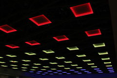 Lights. Red blue and yellow lights on the ceiling Royalty Free Stock Photo