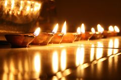 Lights. Lamps arranged in the Diwali evening Stock Photo