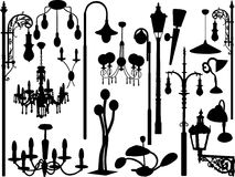 Lights. Vector illustration of chandeliers and lamps Stock Photos