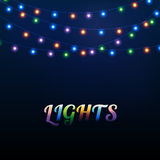 Lights. Abstract background with different colored bright garland lights Vector Illustration