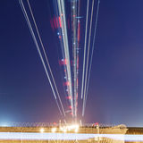 Lights of aircraft on the glide path Stock Photos