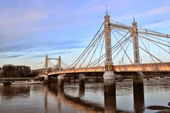 Lights Albert Bridge London Royalty Free Stock Photos