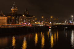 Lights of Amsterdam. The photo shows the quays of Amsterdam at night Stock Photo