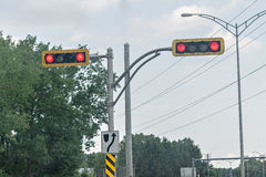 Lights. Angular traffic lights showing red Stock Images