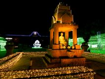 The Lights Around The Statue of King Rama IX was Ordained in The. 11 March`18 Chang Arena Buriram Province Thailand : The Lights Around The Statue of King Rama royalty free stock photos