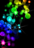 Lights background. Celebration lights background on black, lights in red yellow green blue and purple vector illustration