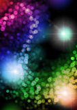 Lights background. Background of lights in reverse s curve, and rainbow colors, with disco lights flashing in background Stock Images