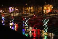 Lights on the banks of Rhone river Stock Photo
