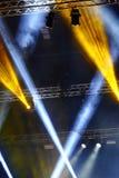 Lights beams Spotlight ray moving lighting on rack construction Stock Image