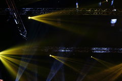 Lights beams Spotlight ray moving lighting on rack construction Royalty Free Stock Images