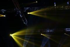 Lights beams Spotlight ray moving lighting on rack construction Royalty Free Stock Photography
