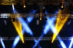 Lights beams Spotlight ray moving lighting on rack construction Royalty Free Stock Image