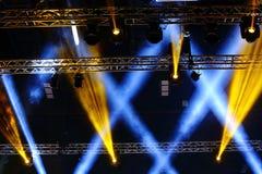 Lights beams Spotlight ray moving lighting on rack construction Royalty Free Stock Photos