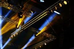 Lights beams Spotlight ray moving lighting on rack construction Stock Photo