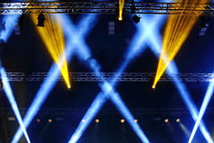 Lights beams Spotlight ray moving lighting on rack construction Stock Images
