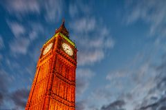 Lights of Big Ben Tower in London Stock Photo