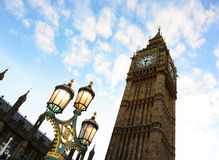 Lights and Big Ben. The lights are on under Big Ben in London UK royalty free stock photo