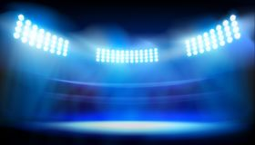 Lights on big stadium. Vector illustration. Royalty Free Stock Photos