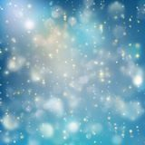 Lights on blue background bokeh effect. EPS 10 vector Royalty Free Stock Images