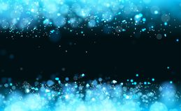 Lights on blue background bokeh effect. Vector EPS 10 Stock Images