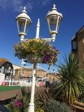 Lights in blue sky at Marina. Ornate street  lights with blue sky Stock Photo