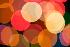 Lights bokeh. Multicolour lights bokeh background. Colored rings Stock Photography