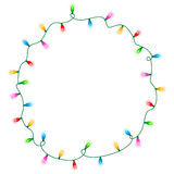 Lights border / frame. Colorful glowing christmas lights border / frame. Colorful holiday lights illustration Stock Photos