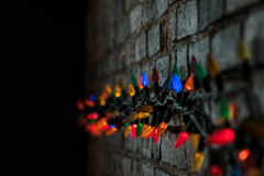 Lights on brick wall
