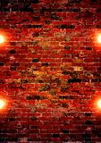 The lights on the brick wall background Stock Photo